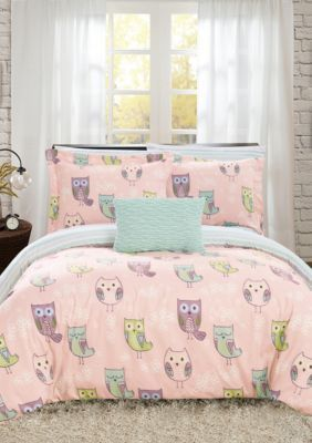 Chic Home Owl Forest Bed In A Bag Comforter Set Pink Full