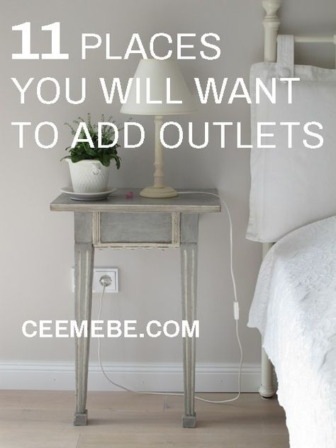 Don't leave your cords hanging around. Check out these 11 great places you will want to add outlets when you are building or remodeling your house.