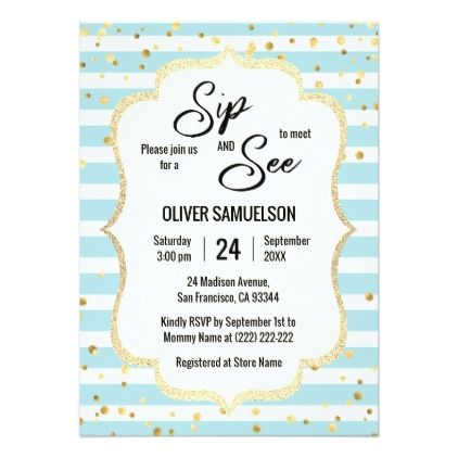 Blue White Stripes Gold Black Baby Sip And See Invitation Zazzle Com Sip And See Invitations Blue Baby Shower Invitations Sip And See