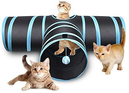 Amazon Com Creaker 3 Way Cat Tunnel Collapsible Pet Toy Tunnel With Ball For Cat Puppy Kitty Kitten Rabbit T Shaped Pet S Cat Tunnel Pet Toys Cat Toys
