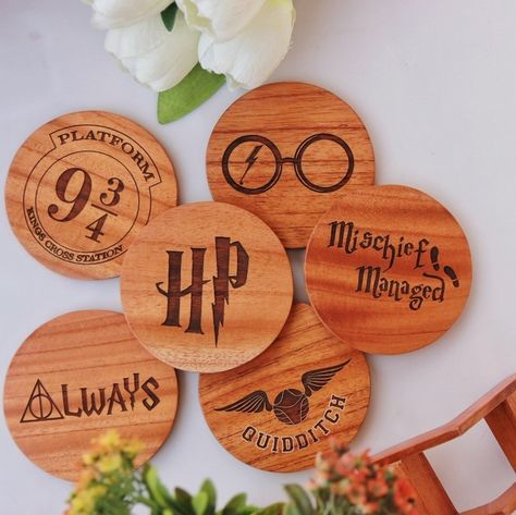 Harry Potter Coasters - Wooden Coaster Set With Holder - Birch