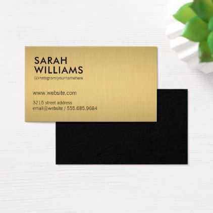 Simple Professional Gold Metallic Business Card Minimalist Office Gifts Personalize Office Cyo Cu Business Card Minimalist Business Card Modern Gift Business