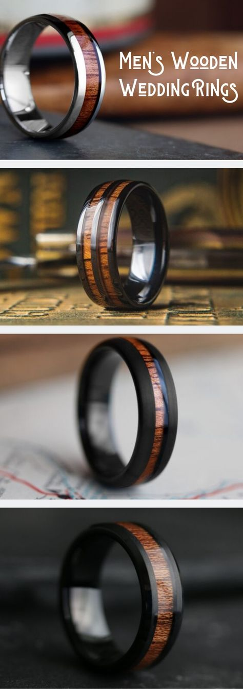 Men's Woodland Wedding Rings - Men's Wedding Rings A collection of mens wooden rings deigned for the outdoorsman. Shower with it or jump in a lake. The wood is waterproof. These wooden rings are Wedding Men, Wedding Engagement, Wedding Styles, Our Wedding, Dream Wedding, Wooden Wedding Ring Mens, Wedding Ideas, Ring Crafts, Wooden Rings