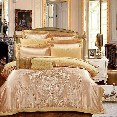Silver Gold Luxury Silk Satin Duvet Cover Bedding Set Queen King Size Embroidery Bedding Sets Queen Bedding Sets Jacquard Bedding