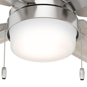 Hunter Crossfield Led 54 In Brushed Nickel Led Indoor Ceiling Fan With Light Kit 4 Blade Lowes Com In 2020 Ceiling Fan With Light Fan Light Ceiling Fan