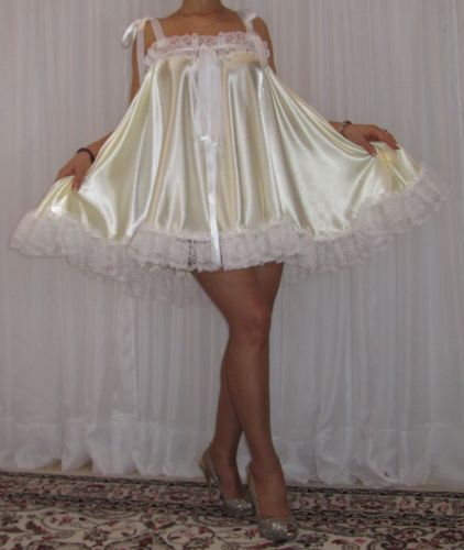 7195b980e VTG-Lingerie-Satin-Nylon-Lace-Slip-FULL-Sweep-Negligee-Babydoll-Nightgown-M-6X  #satin