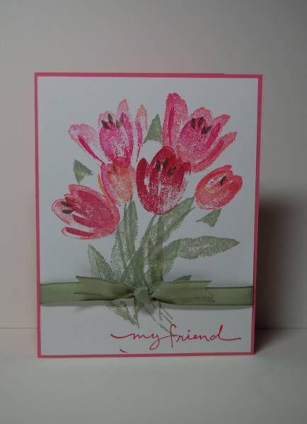 Handmade Thank You Card Tulip Flowers Added Gems F