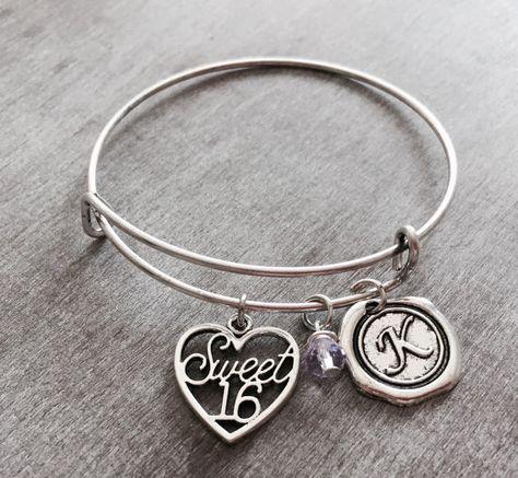 Sweet 16 Silver Jewelry Charm Bracelet Gift