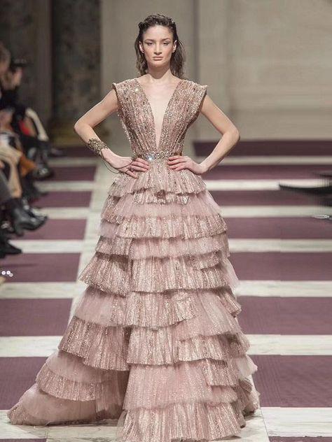 Fashion Rose Gold Mesh Evening Dress DD199