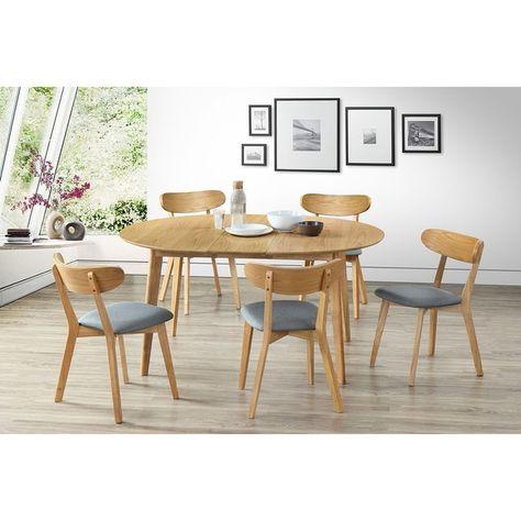 Table à Manger Design Ronde Extensible Chêne L120 150 Leena