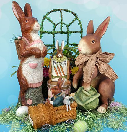 Vintage Easter Bunny Figural Decor Holiday Decorations Easter