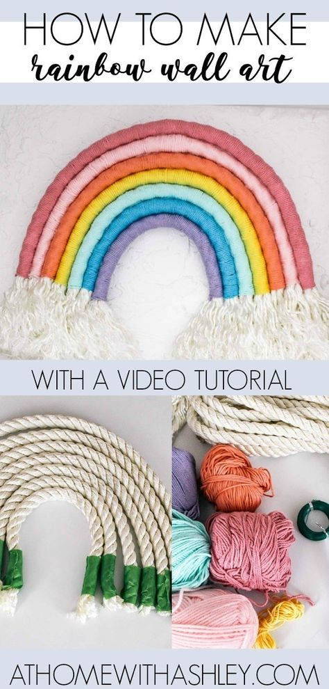 How to make a Rainbow Wall Hanging - at home with Ashley