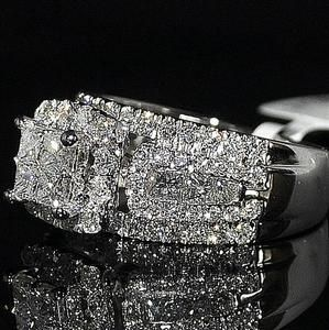 2ct wedding ring princess cut diamond 3 in 1 style cathedral side 10mm big 14kwg - Big Diamond Wedding Rings
