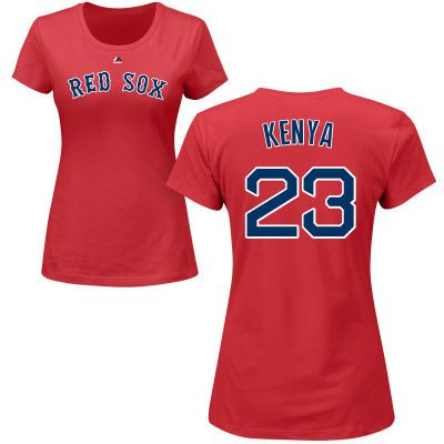 43c4ca8cb Women s Boston Red Sox Majestic Red Custom Roster Name   Number T-Shirt
