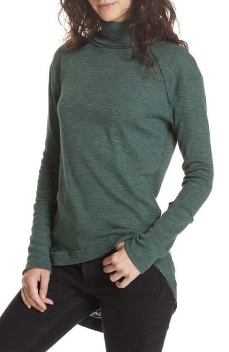 Free shipping and returns on Free People Split Back Turtleneck at Nordstrom.com. A softly marled turtleneck in a rich, fall-ready shade is styled with long raglan sleeves, a breezy high/low hem and a flyaway back that makes this top perfect for layering.