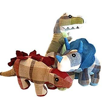 Wolfe And Sparky S Dinosaur Dyno Dog Toys Includes A T Rex A Triceratops And A Stegosaurus Plaid Woven Dog Toys Perfect For Small Dogs In 2020 Dog Toys Small Dogs