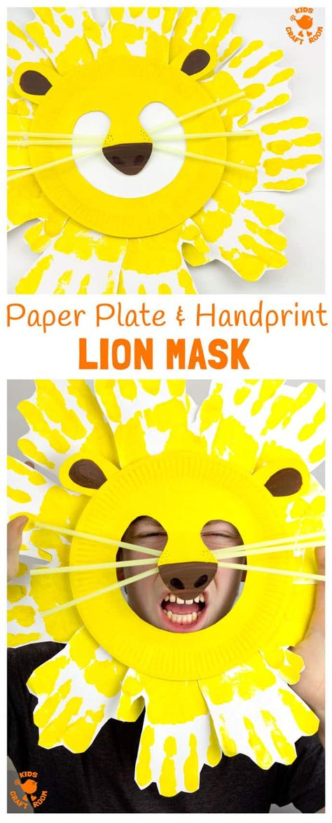 Kids will love adorable Handprint and Paper Plate Lion Masks. These easy paper plate craft animal masks are fun for the dress up box and a great way to inspire dramatic play. #lion #mask #paperplatecrafts #handprintcrafts #lioncrafts #maskcrafts #animalcrafts #lions #masks #homemademasks #kidscrafts #craftforkids #kidscraftroom #junglecrafts #costumes #dramaticplay #kidsactivities #preschoolcrafts  #handprint  via @KidsCraftRoom