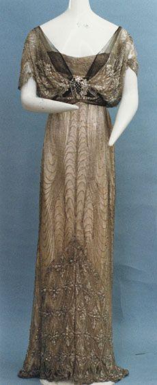 Evening dress ca. 1912 via The Kyoto Cotume Institute