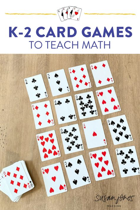 Math Card Games for Kids! - Susan Jones - I love using these math card games to teach kindergarten, first, and second grade students. Kindergarten Math Games, Math Activities For Kids, First Grade Activities, Preschool Games, Math Classroom, Teaching Math, Kids Math, 1st Grade Math Games, Math Games For Preschoolers