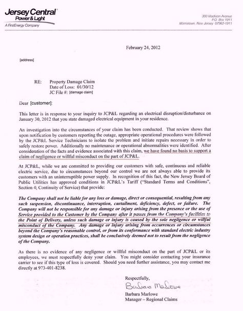 jcpl claim denial letter jcp amp power surge refusal incident - sample incident report