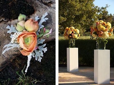 A peach and gray boutonniere by De Young Flowers, San Francisco Bay Area.