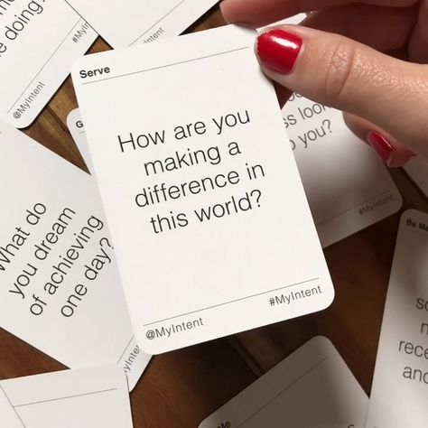 """🎁 Mindful gift for teachers, clients, bus drivers, baristas, & more! """"I love using these Question Cards when hanging with friends & family! I'm giving these as gifts to friends! Great activity to do with loved ones to ask thought-provoking questions!"""" ~Annie B. MyIntent's Question Cards are a perfect conversation starter, team building activity, or journal topics."""
