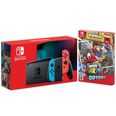 Nintendo Switch Bundle With Neon Red Blue Joy Con Super