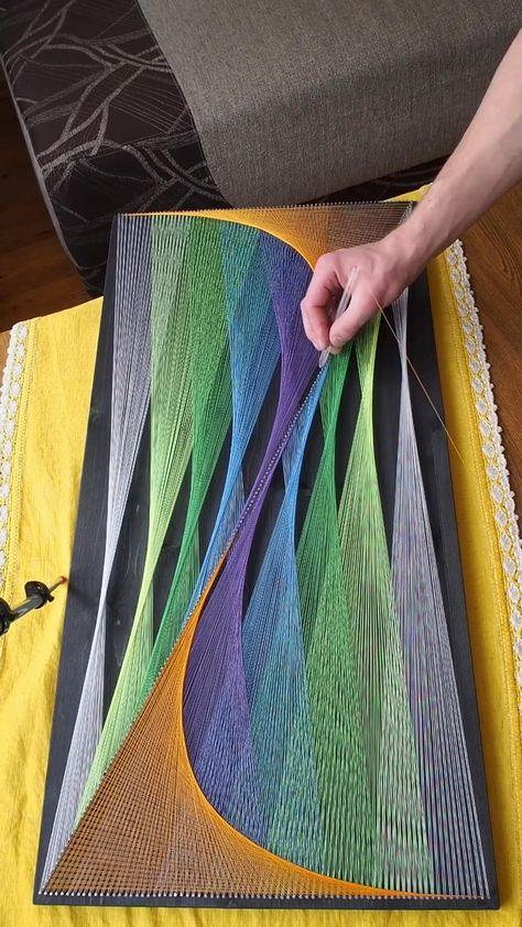 String Wall Art, Nail String Art, String Crafts, Diy Resin Crafts, Diy Home Crafts, Diy Wall Art, Diy Craft Projects, Handmade Crafts, Diy Art