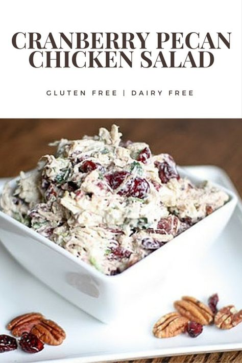 Easy cranberry pecan chicken salad recipe thats gluten free and dairy free. Easy cranberry pecan chicken salad recipe thats gluten free and dairy free. Chicken Salad Recipe With Pecans, Pecan Chicken Salads, Chicken Salad Recipes, Healthy Salad Recipes, Healthy Chicken, Salad Chicken, Gluten Free Chicken Salad Recipe, Chicken Salad With Cranberries, Healthy Recipes