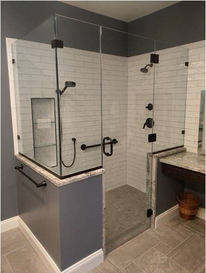 Custom Frameless Unit With Matte Black Hinges Hardware Frameless Shower Doors Glass Shower Enclosures Shower Enclosure