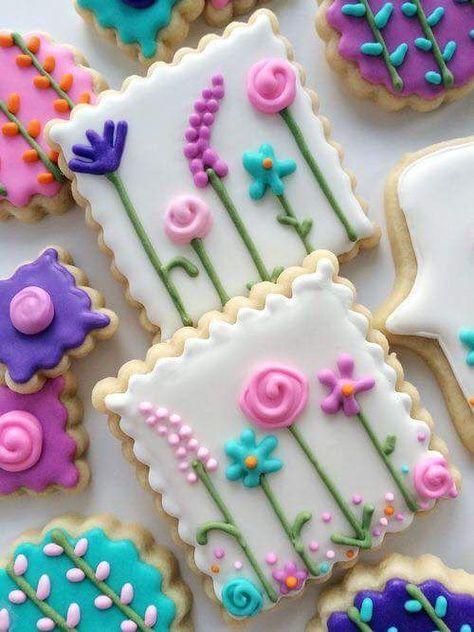 Garden Party Favors~ Springtime Sugar Cookies - so pretty ! Fancy Cookies, Iced Cookies, Cute Cookies, Easter Cookies, Cupcake Cookies, Christmas Cookies, Frosted Cookies, Summer Cookies, Cookie Favors