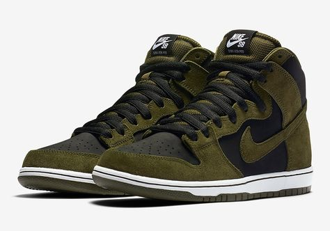 The Nike SB Dunk High Olive (Style Code: will release this coming Spring 2017 season featuring premium suede and nubuck. High Top Sneakers, Sneakers Mode, Retro Sneakers, Classic Sneakers, Sneakers Fashion, Nike Sb Dunks, Nike Tennisschuhe, Nike Men, Air Jordan
