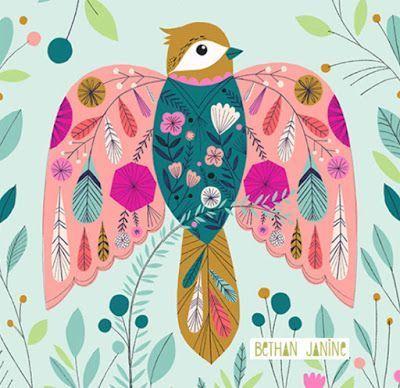 Pretty Birdy In 2020 Modern Folk Art Folk Art Painting Scandinavian Folk Art
