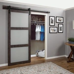 Reliabilt Iron Age Prefinished 3 Panel Mdf Barn Door Hardware Included Common 36 In X 84 In Actu Glass Barn Doors Frosted Glass Barn Door Barn Door Hardware