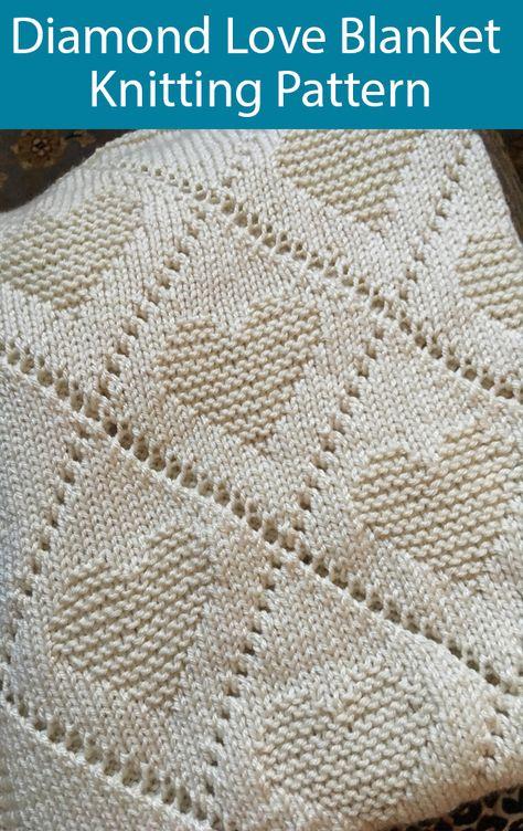 Knitting Pattern for Diamond Love Baby Blanket