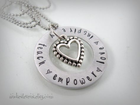 Hand Stamped Teacher Necklace  Teacher Gift by andiestevensdesigns, $28.00