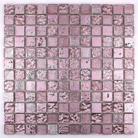 Carrelage Mosaique Verre Et Pierre Metallic Rose Carrelage