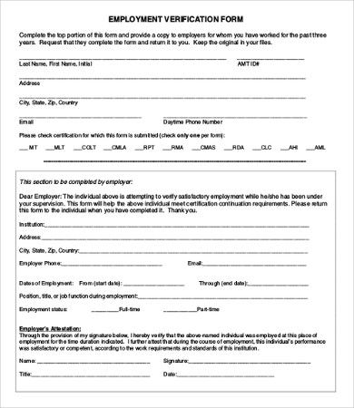 Employment Verification Form Document Templates Templates Cash