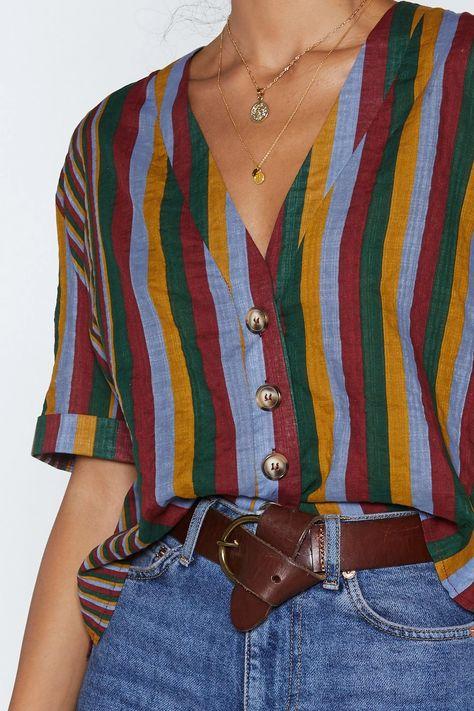 Striped Casual V Neck Shirt   Nasty Gal