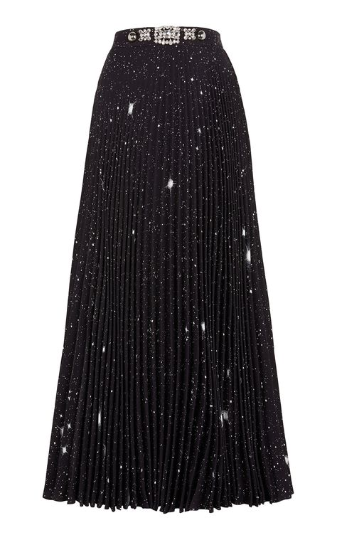 Christopher Kane's maxi skirt showcases the designer's attention to detail—it's made with a brilliant star print and coordinating crystal embellishments that glisten like the night sky. Black Pleated Skirt, Pleated Maxi, Black Maxi, Dress Skirt, Lace Skirt, Sequin Skirt, Corset Dresses, Midi Dresses, Midi Skirt