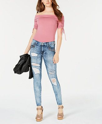 110476d253b9 GUESS Crystal Ripped Rhinestone-Embellished Skinny Jeans Juniors - Jeans -  Macy s