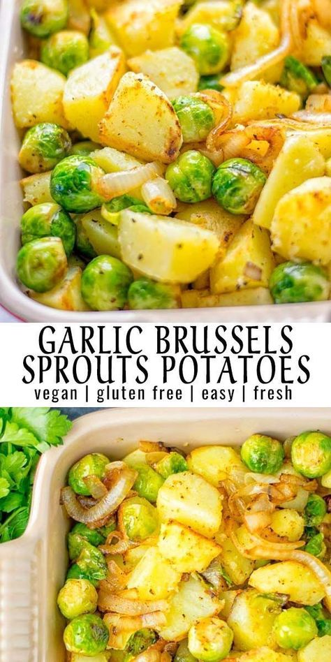 Garlic Brussels Sprouts Potatoes These Garlic Brussels Sprouts Potatoes are entirely vegan, gluten free, and so easy to make. A perfect warming dish for the holiday season, but also all-year long. - These Garlic Brussels Sprouts Potatoes are naturally vegan, gluten free and super easy to make. So delicious for the holidays, Christmas, as dinner, lunch, appetizer, side dish or meal preparation, and so much more. On its own or served with many other yummy things, enjoy. #vegan #glutenfree #dairyfr