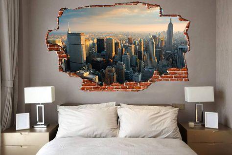 Le migliori occasioni per adesivi murali, stickers, trompe l'oeil. Breaking Wall New York City Skyline Wall Graphics Design Break Wall