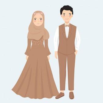 Cute Muslim Couple With Flower For Wedding Invitation Card Premium Vector Wedding Dresses In 2020 Cute Muslim Couples Wedding Couple Cartoon Bride And Groom Cartoon