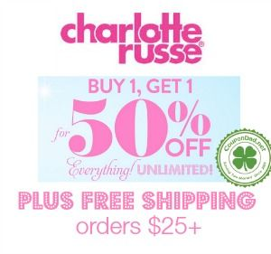 Charlotte Russe promo codes: http://www.coupondad.net/charlotte-russe-promo-code/