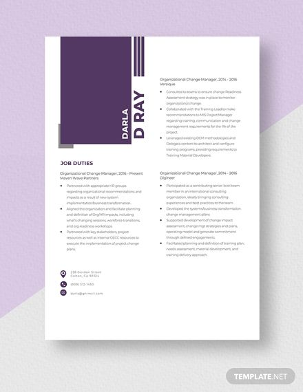 Organizational Change Manager Resume Template In 2020 Manager Resume Resume Template Communication Plan Template