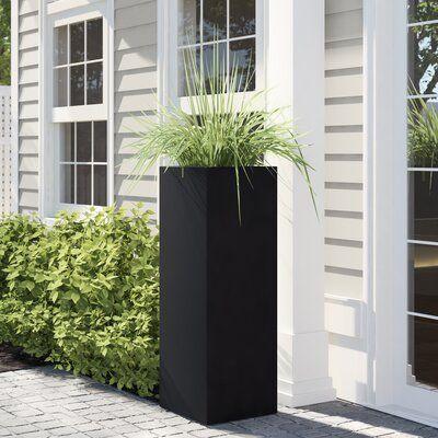 Sol 72 Outdoor Eaton Sturdy Fiberstone Pot Planter Colour Black
