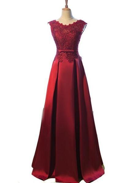 cbea18ea8e2 Pretty Wine Red Satin A-line Floor Length Prom Dress 2019