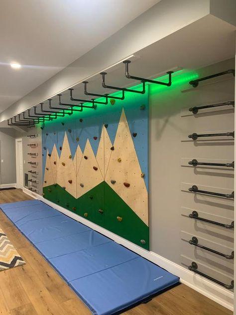 Kids Indoor Gym, Indoor Jungle Gym, Kids Gym, Indoor Playroom, Indoor Monkey Bars, Diy Monkey Bars, Kids Basement, Crossfit Gym, Gym Room