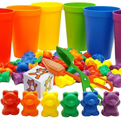 Skoolzy Rainbow Counting Bears with Matching Sorting Cups, Bear Counters and Dice Math Toddler Games 71pc Set - Bonus Scoop Tongs, Storage Bags - Red, Orange, Yellow, Green, Blue, Purple